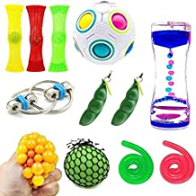 SpringFly 030 12 Pack Bundle Sensory Fidget Cube/Bike Chain/Liquid Motion Timer/Rainbow Magic Ball/Mesh and Marble Toy/Soybeans Squeeze Grape