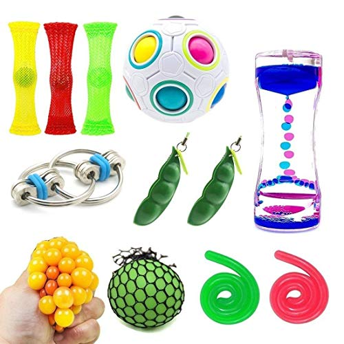 51NhFNsPe4L - SpringFly 030 12 Pack Bundle Sensory Fidget Cube/Bike Chain/Liquid Motion Timer/Rainbow Magic Ball/Mesh and Marble Toy/Soybeans Squeeze Grape