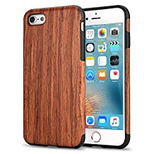 iPhone 6s Case, Tendlin Natural Wood Flexible TPU Silicone Hybrid Soft Slim Cover Case for iPhone 6 and iPhone 6s (Red Sandalwood)