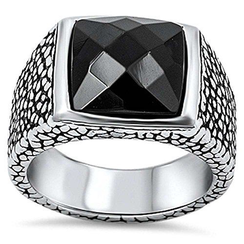 Mens Fancy Onyx (Simulated Black Onyx Fancy Style Stainless Steel 316L Ring Size 12)