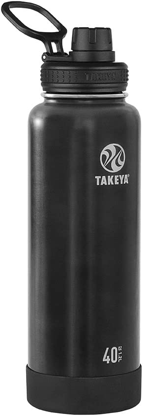 Takeya Actives Vacuum-Insulated Stainless-Steel Water Bottle with Insulated Spout Lid, 40oz, Slate