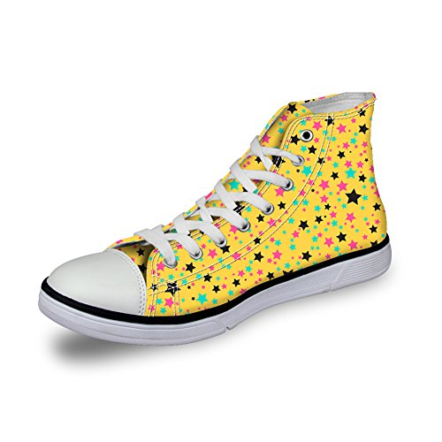Bigcardesigns Cute Stats Casual High Top Canvas Sneakers Skate Shoes For Girls Stars Yellow 762BMIgvrl