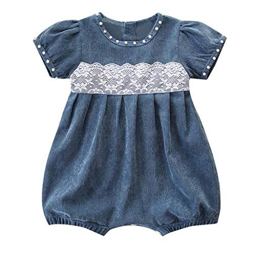 2019 Baby Girl Romper Leegor Newborn Kids Outfit Clothes Corduroy Lace Short Sleeve Jumpsuit Bodysuit Blue