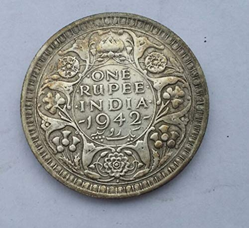 (Rare Antique European 1942 United Kingdom British India 1 One Rupee Bombay - George VI UK Great Britain Silver Color Coin ...)