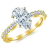 14K Yellow Gold 1.13 CTW Classic Prong Set Diamond Engagement Ring w/ 0.7 Ct Pear Cut G Color SI1 Clarity Center