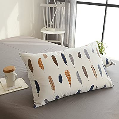 BuLuTu Cotton Feather Print Bed Pillowcases Set of 2 Queen White Pillow Covers Decorative Standard for Kids Adults Envelope Closure End-Premium,Ultra Soft,Hypoallergenic,Breathable (2 Pieces,20