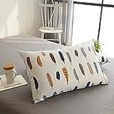 BuLuTu Cotton Feather Print Bed Pillowcases Set