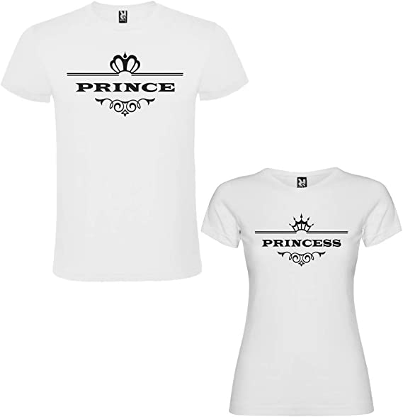Dalim Pack de 2 Camisetas Blancas para Parejas, Prince y Princess, Negro: Amazon.es: Ropa y accesorios