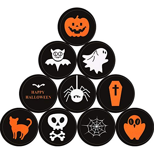 (Boao 100 Pieces Halloween Stickers Round Seal Label Stickers Assorted Pumpkin Skull Bat Ghost Pattern Stickers for Halloween Party)