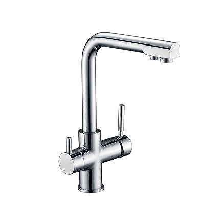 SUMERAIN Triflow 3 Vie per rubinetto da cucina, calda, fredda ...