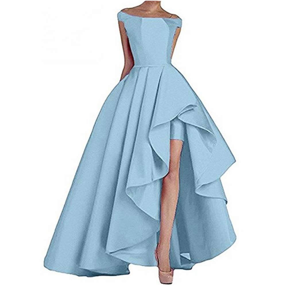 Light bluee Liaoye Women's Off Shoulder Satin Long Prom Dress High Low Evening Dress Formal Gowns