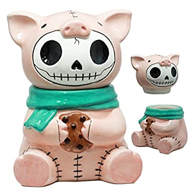 Ebros Furry Bones Bacon Ceramic Cookie Jar Cute Porky Pig Furrybones Skeleton Container Figurine Collectible Kitchen Hosting Dining Accessory