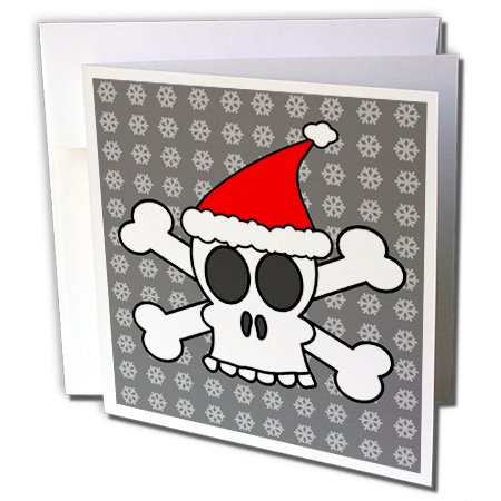 3dRose Skull and Crossbones Red Santa Hat Gray Snowflakes - Greeting Cards, 6 x 6 inches, set of 6 (gc_6362_1) (Invitations Red Hat)