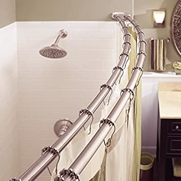 Bowed Shower Curtain Rod.Bennington Adjustable Double Curved Shower Curtain Rod Satin Nickel