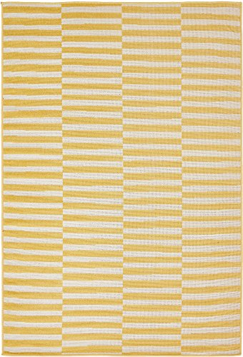 Unique Loom Williamsburg Collection Casual Striped Yellow Area Rug (4' 0 x 6' 0) (Large Yellow Area Rug)