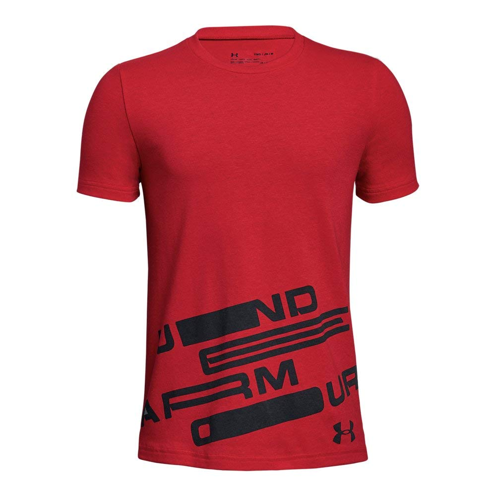 Under Armour Boys Spatter Branded ss Tee, Red (600)/Black, Youth X-Small