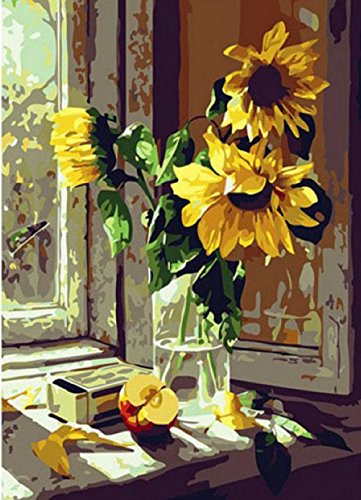 Greek Art Paintworks Paint Color By Number Kit,Window Sunflower,16-Inch by (Greek Wood Frame)