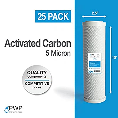PWP Activated Carbon Block Water Filter Cartridge RO CTO 10x2.5 5 Micron 25 Pack