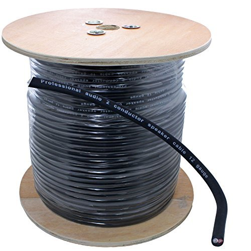 500 Ft Spool of pro audio PA 12 Gauge Awg 2 Conductor Speaker Wire - Black ()