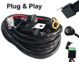 #7: AutoSonic LED Wiring Harness Heavy Duty wire kit for LED Light Bar Work Light,12V 40A Relay, Fuse and On-off switch button included, Life Time Warranty