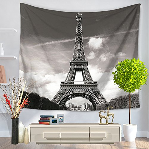 "YJ Bear Eiffel Tower Pattern Rectangle Indian Mandala Boho Beach Towel Throw Table Cloth Cover Non-woven Weaving Yoga Mat Blanket Wall Hanging Tapestry 59"" X 51"""