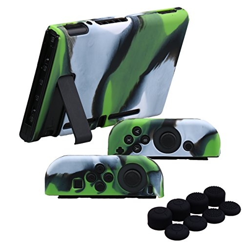 YoRHa Hand grip Silicone Cover Skin Case x 3 for Nintendo Switch/NS/NX Joy-Con controller and Tablet (Camouflage green) With Joy-Con thumb grips x (Joy Green)