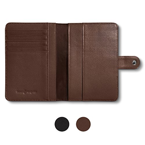 RFID Blocking Leather Travel Passport Holder With Snap, Bifold Wallet For Men And Women, Brown by Travel Navigator (Image #1)