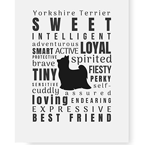 Yorkshire Terrier Gifts Art Typography Print 'Pet Personality' (8.5 x 11
