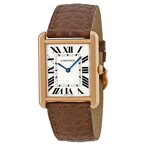 Cartier Tank Solo Silver Dial Brown Leather Strap Ladies Watch W5200025