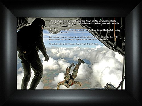 Paratrooper's Prayer By Todd Thunstedt 18x24 Sky Dive Diving Parachute Jumping Jumper Patriotic Soldier Military Paratrooper Airborne 101st 82nd Framed Art Print Wall Décor Picture - Jets Framed Motivational Print