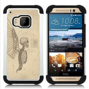 - ANGEL DEATH WINGS HELL SKELETON SKULL - - Doble capa caja de la armadura Defender FOR HTC ONE M9 RetroCandy
