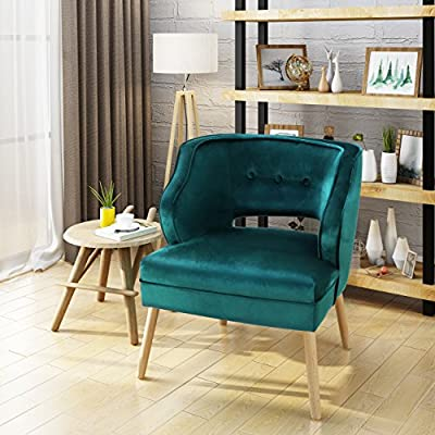 Christopher Knight Home Mariposa Mid-Century Velvet Accent Chair, Teal / Natural - This mid Century velvet accent chair is a wonderful addition to any room in your home. Featuring soft to touch velvet with rubberwood legs, this chair is exceedingly comfortable. With a complimentary button and ribbed design to the chair, It is very stylish and sure to match any decor. Place this chair in your living room as extra seating, in the entry Way for a quick seat to put your shoes on before leave, or any room you in your home. You are sure to love this chair for years to come. - living-room-furniture, living-room, accent-chairs - 51NhI6BfkHL. SS400  -