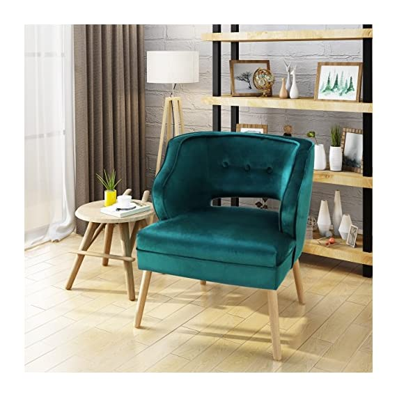 Christopher Knight Home 304036 Michaela Mid Century Teal Velvet Accent Chair, - This mid century velvet accent chair is a wonderful addition to any room in your home. Featuring soft to touch velvet with rubberwood legs, this chair is exceedingly comfortable. With a complimentary button and ribbed design to the chair, it is very stylish and sure to match any decor. Place this chair in your living room as extra seating, in the entry way for a quick seat to put your shoes on before leave, or any room you in your home. You are sure to love this chair for years to come. Includes: One (1) Accent Chair. Material: Velvet. Composition: 100% Polyester Leg Material: Rubberwood. Color: Teal. Leg Finish: Natural - living-room-furniture, living-room, accent-chairs - 51NhI6BfkHL. SS570  -