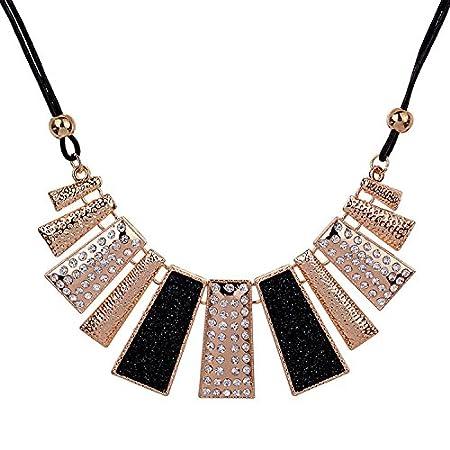 Cute Women/'s Crystal Choker Chunky Statement Bib Chain Necklace Pendant Jewelry