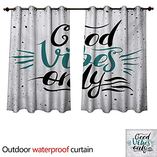 - WilliamsDecor Good Vibes Outdoor Balcony Privacy Curtain Stylized Hand Letters Calligraphy Dots Wavy Lines and Little Heart Modern W84 x L72(214cm x 183cm)
