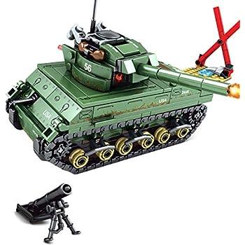 Lingxuinfo Tank Building Block Model, 437 Pieces M4 Sherman Tank Model Kit Military Army Tanks Building Block Set Military Tank Vehicle for Kids and Adults