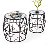 Drum Set Coffee Table Joveco Side End Accent Coffee Table Set of 2 Indoor Outdoor Decorative Nightstands (2 Pieces Drum End Table)