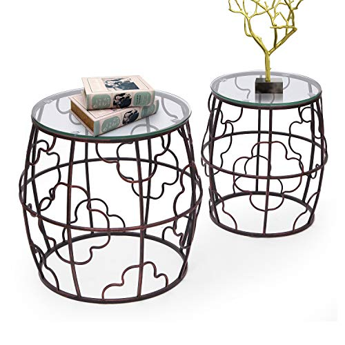 - Joveco Side End Accent Coffee Table Set of 2 Indoor Outdoor Decorative Nightstands (2 Pieces Drum End Table)