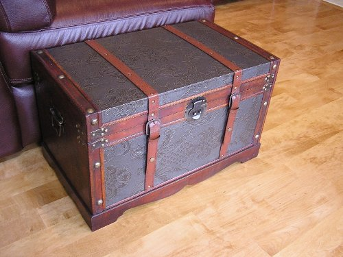 Saratoga Faux Leather Chest Wooden Steamer Trunk - Medium Trunk by Styled Shopping
