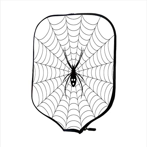 Neoprene Pickleball Paddle Racket Cover Case,Spider Web,Poisonous Bug Venom Thread Circular Cobweb Arachnid Cartoon Halloween Icon Decorative,Black White,Fit For Most Rackets - Protect Your Paddle ()