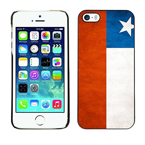 Omega Case PC Polycarbonate Cas Coque Drapeau - Apple iPhone 5 / 5S ( Chile Grunge Flag )