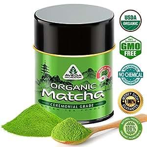 100% Pure Organic Ceremonial Grade Matcha Tea - Japanese Green Tea Powder - Powerful Antioxidant, Best Tonic&Detox, Increase Energy&Focus, Brain&Memory Booster, no Coloring - 30 g - Premium Quality Certified by USDA - Avega Recreation
