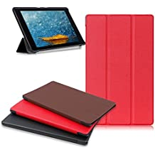 Amazon Fire HD 8 Tablet Case, Buruis  Premium Leather Shockproof Fire 8 Case Trifold Stand Cover With Auto Wake Sleep for Kindle Fire HD 8 Tablet, (7th Gen, 2017 / 6th Gen, 2016 / 5th Gen, 2015) Red
