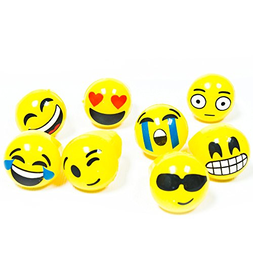 Fun Central AY949 24 Pieces Assorted Light up Jelly Emoji Rings, Light up Jelly Flashing Rings, Glowing Rings for -