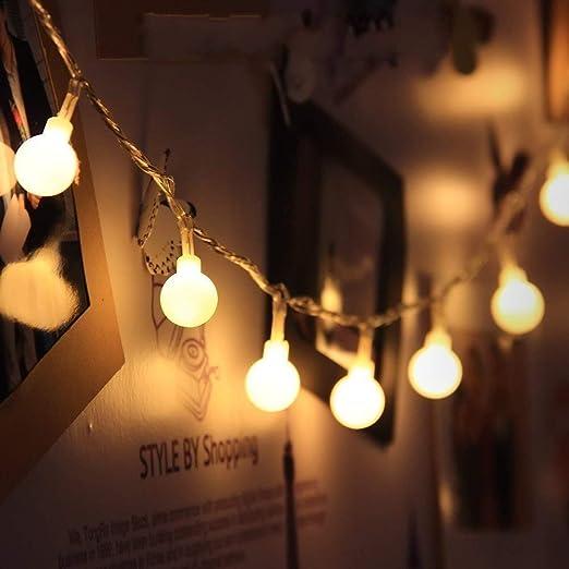 JZK Guirnalda blancas cálida led luces 5M con 50 bombillas de led para decoración Interior jardines casas boda fiesta de Navidad: Amazon.es: Iluminación