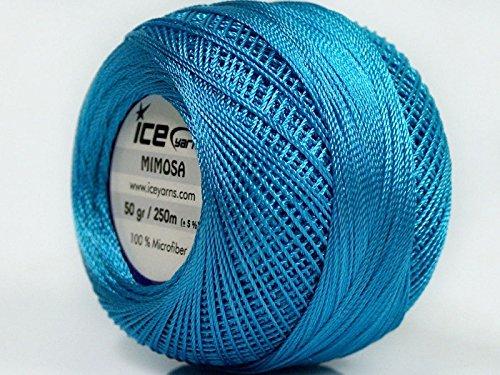 Cerulean Blue Mimosa Size 10 Microfiber Crochet Thread - 50 Gram
