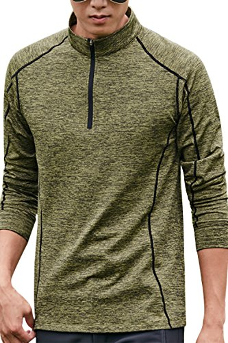 SENSERISE Mens Performance 1/4 Zip Pullover Long Sleeve Dry Fit Fleece Lining Top(Olive Green,US Medium ASIAN 3XL)