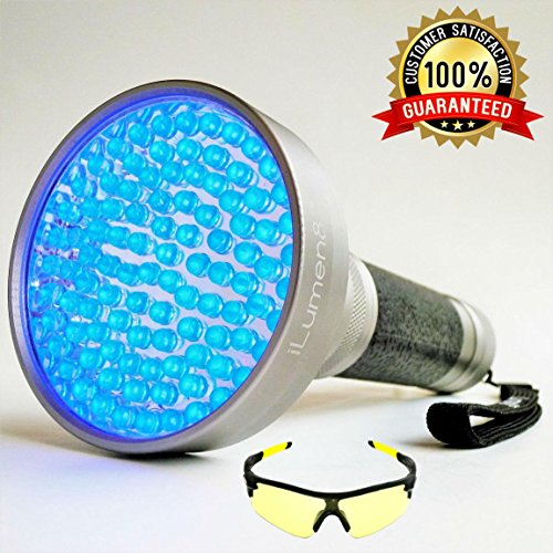 Extra Bright -100 LED- (LATEST Super High-Flux LED's) UV Blacklight Flashlight by iLumen8. Ultraviolet Pet Dog Cat Urine finder. POWERFUL 35ft BEAM detects Scorpions, Human Fluids, Bed Bugs and more