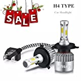 ALUNAR H4/H7 LED Headlight Bulbs Hi/Lo Beam 12V Auto Headlamp Dual Beam Head Light Hi/Lo 72W 6500K 8000LM Extremely Super Bright COB Chips Infitary Replacement Lights All-in-one Conversion Kit for Car 1 Pair (H4/9003/HB2 Hi/Lo 2 PCS)