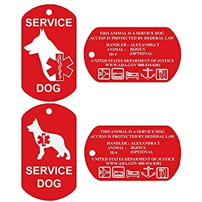 Service Dog ID Tags - Personalized FRONT AND BACK, Durable Premium Aluminum Set of 2 Tags by CNATTAGS LLC